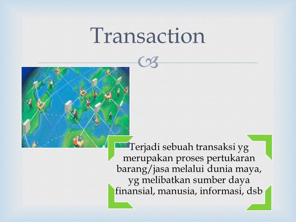  Terjadi sebuah transaksi yg merupakan proses pertukaran barang/jasa melalui dunia maya, yg melibatkan sumber daya finansial, manusia, informasi, dsb Transaction
