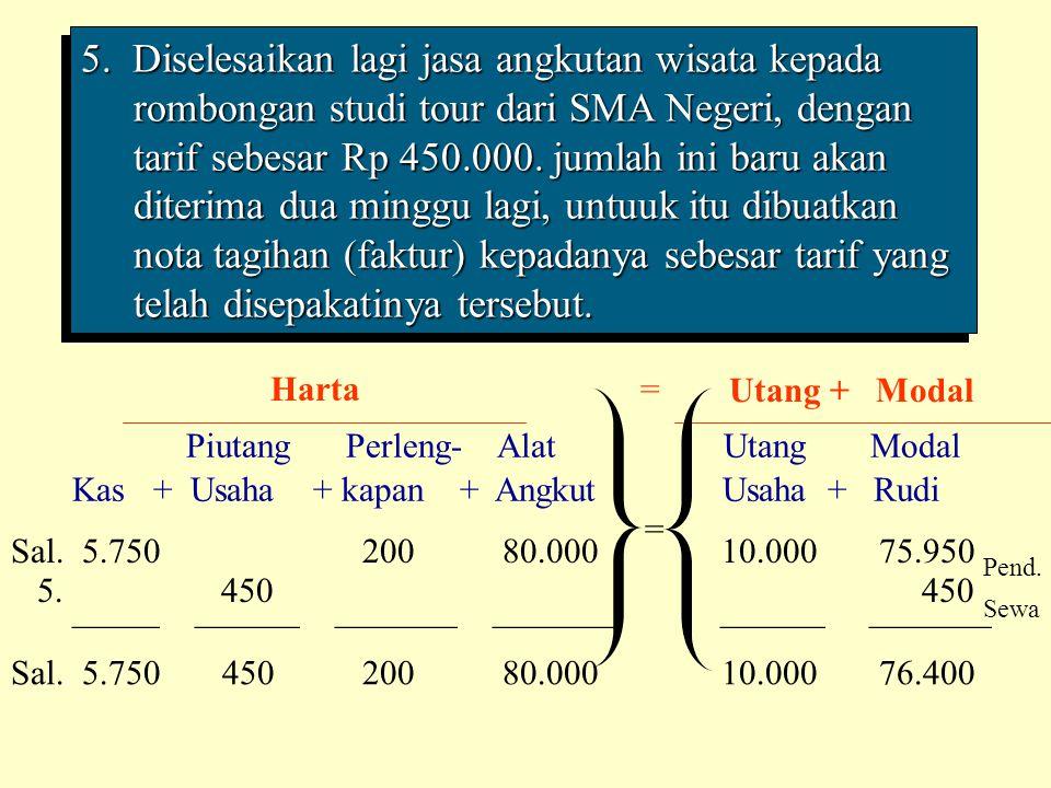5. Diselesaikan lagi jasa angkutan wisata kepada rombongan studi tour dari SMA Negeri, dengan tarif sebesar Rp 450.000. jumlah ini baru akan diterima