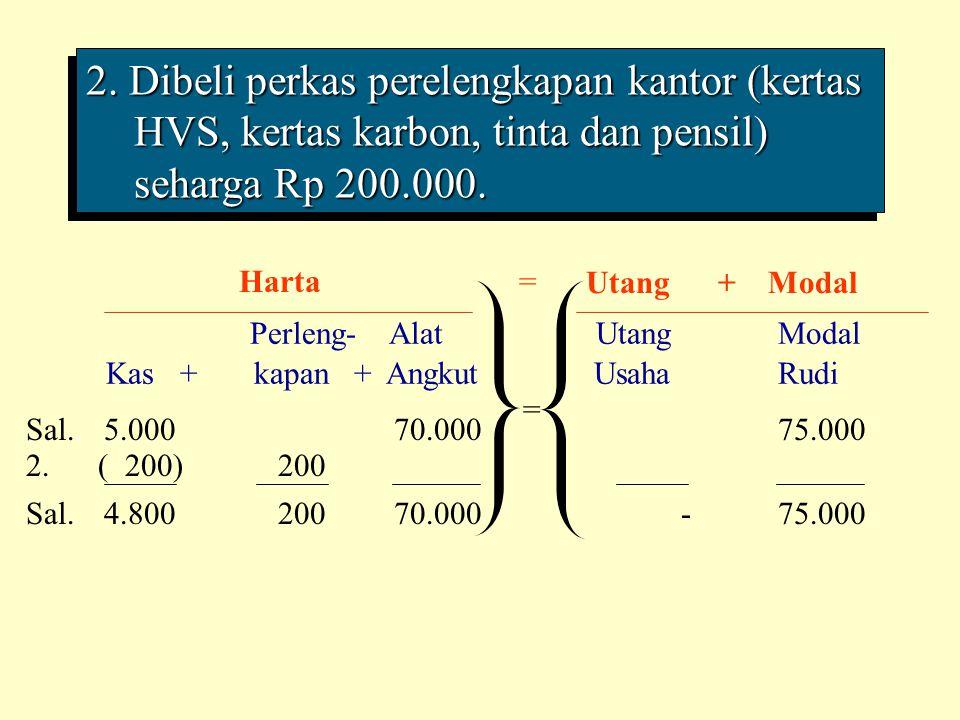 2. Dibeli perkas perelengkapan kantor (kertas HVS, kertas karbon, tinta dan pensil) seharga Rp 200.000. Perleng- Alat Utang Modal Kas + kapan + Angkut