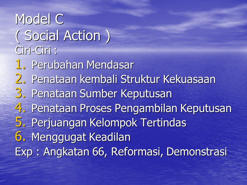 Model C ( Social Action ) Ciri-Ciri : 1.Perubahan Mendasar 2.
