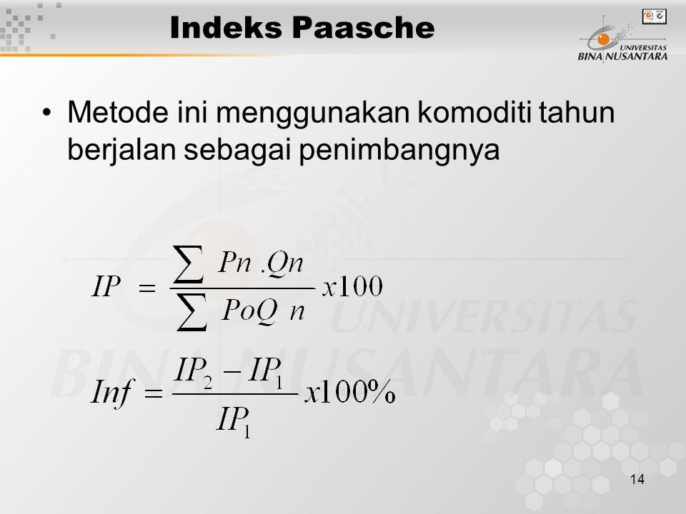 14 Indeks Paasche Metode ini menggunakan komoditi tahun berjalan sebagai penimbangnya