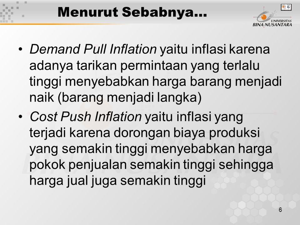 6 Menurut Sebabnya… Demand Pull Inflation yaitu inflasi karena adanya tarikan permintaan yang terlalu tinggi menyebabkan harga barang menjadi naik (barang menjadi langka) Cost Push Inflation yaitu inflasi yang terjadi karena dorongan biaya produksi yang semakin tinggi menyebabkan harga pokok penjualan semakin tinggi sehingga harga jual juga semakin tinggi