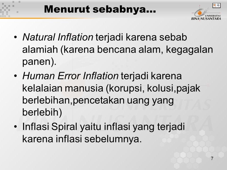 7 Menurut sebabnya… Natural Inflation terjadi karena sebab alamiah (karena bencana alam, kegagalan panen).