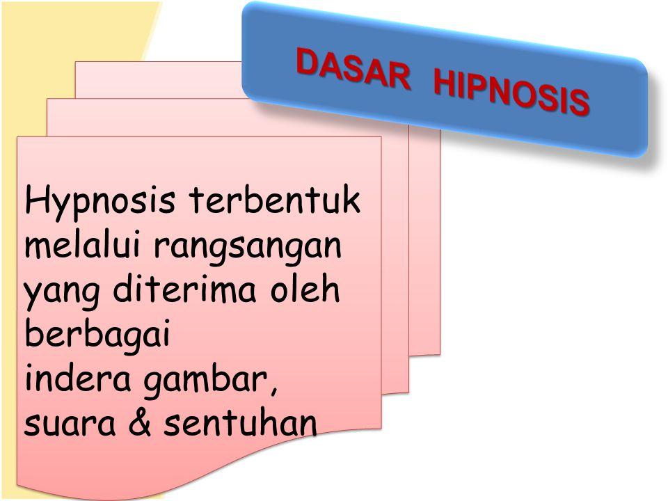 Hypnosis terbentuk melalui rangsangan yang diterima oleh berbagai indera gambar, suara & sentuhan Hypnosis terbentuk melalui rangsangan yang diterima oleh berbagai indera gambar, suara & sentuhan