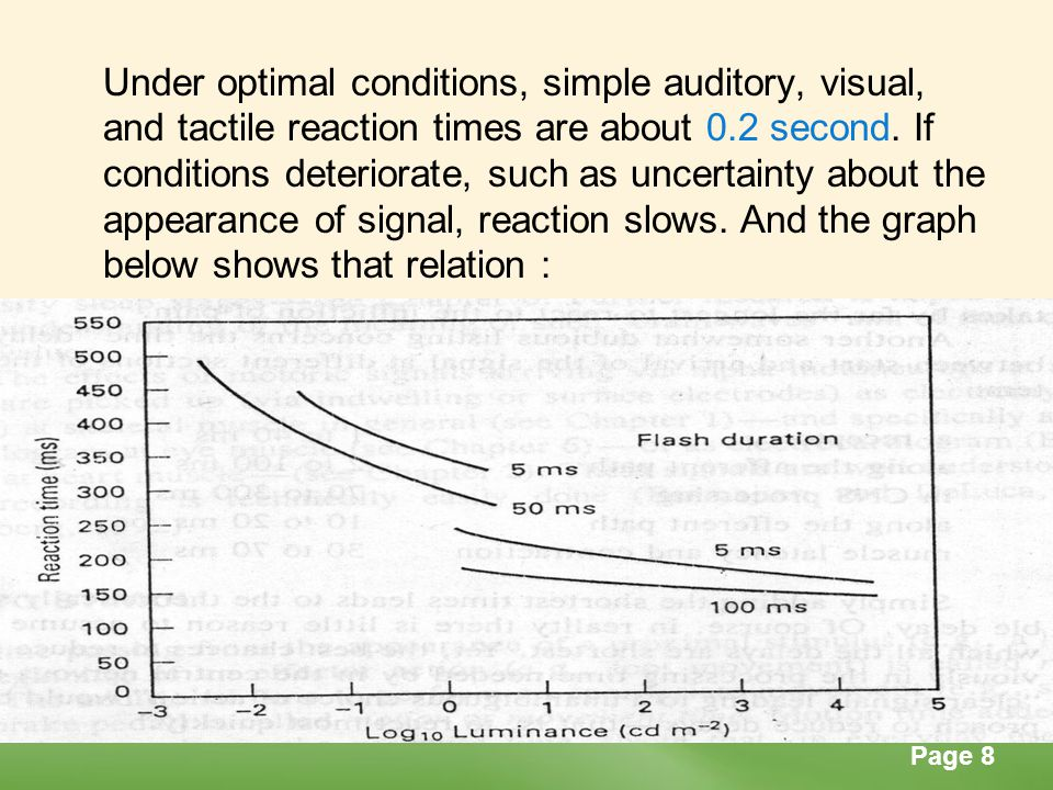 Page 9 Motion Time Motion time follows reaction time.