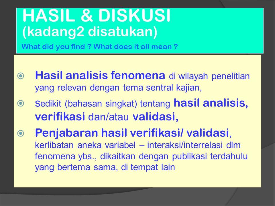 HASIL & DISKUSI (kadang2 disatukan) What did you find ? What does it all mean ?  Hasil analisis fenomena di wilayah penelitian yang relevan dengan te