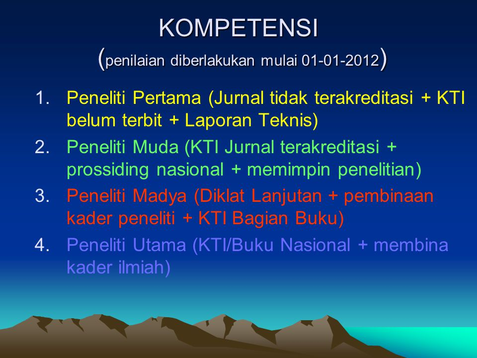 KOMPETENSI ( penilaian diberlakukan mulai 01-01-2012 ) 1.Peneliti Pertama (Jurnal tidak terakreditasi + KTI belum terbit + Laporan Teknis) 2.Peneliti