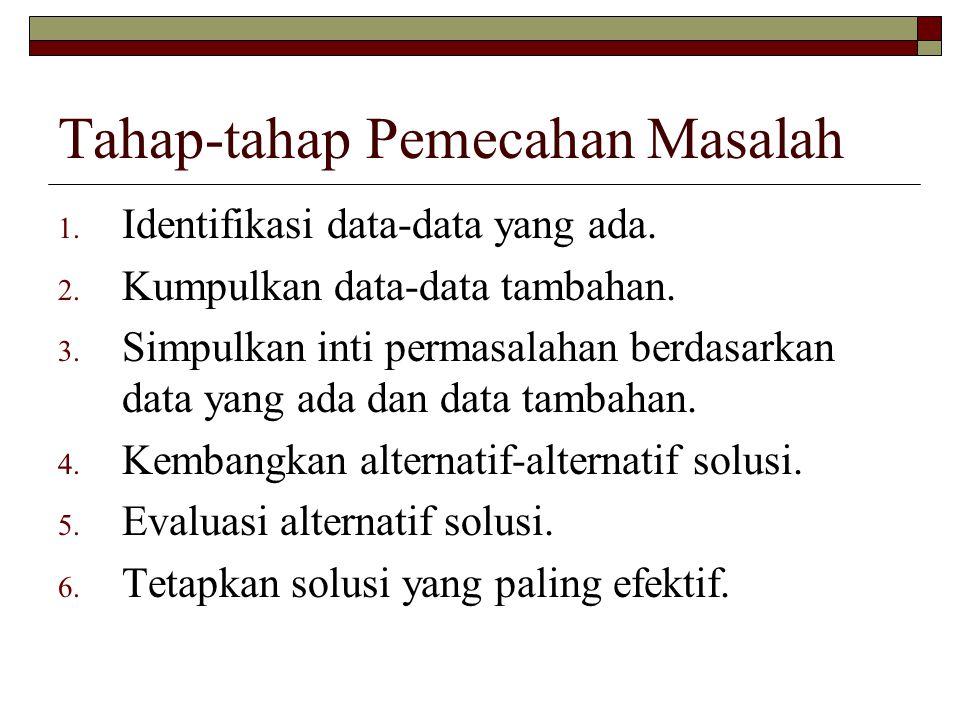 Tahap-tahap Pemecahan Masalah 1. Identifikasi data-data yang ada.