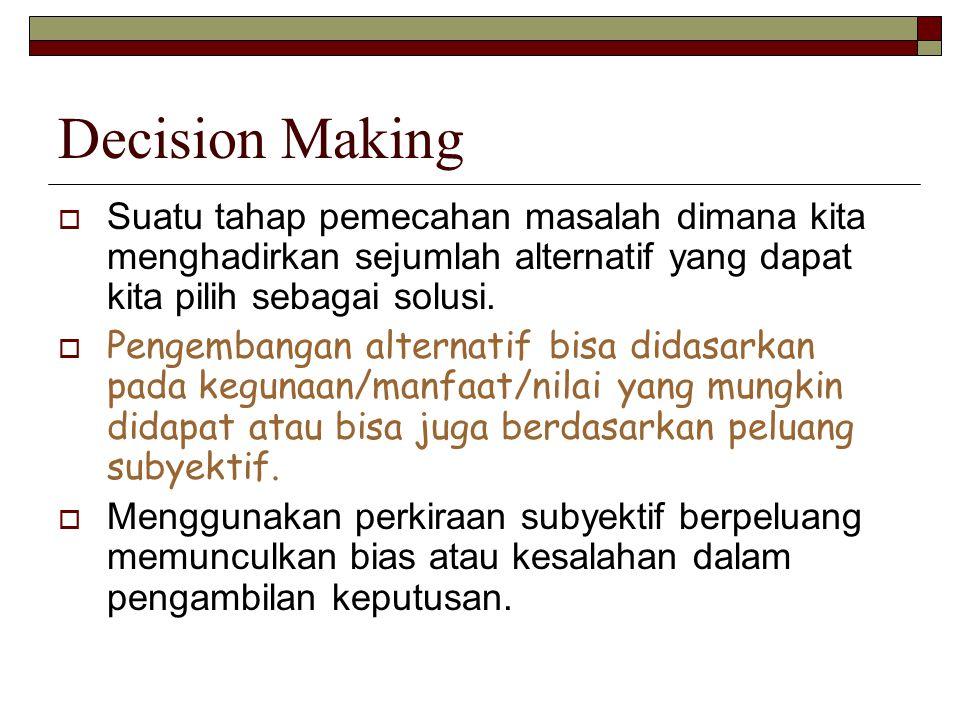 Decision Making  Suatu tahap pemecahan masalah dimana kita menghadirkan sejumlah alternatif yang dapat kita pilih sebagai solusi.  Pengembangan alte