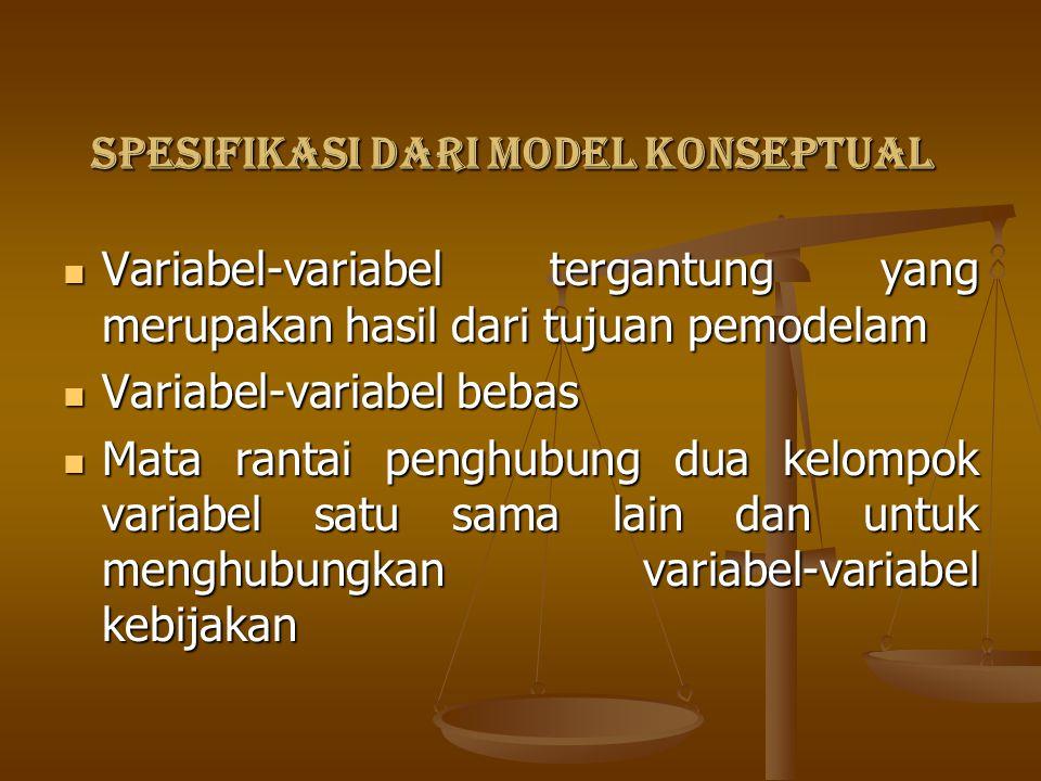 SPESIFIKASI DARI MODEL KONSEPTUAL Variabel-variabel tergantung yang merupakan hasil dari tujuan pemodelam Variabel-variabel tergantung yang merupakan