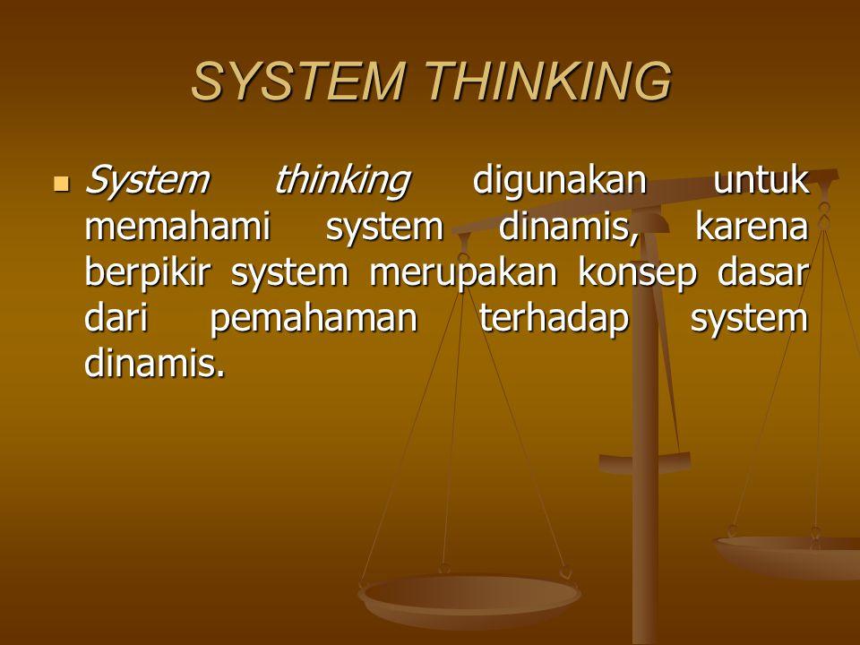 SYSTEM THINKING System thinking digunakan untuk memahami system dinamis, karena berpikir system merupakan konsep dasar dari pemahaman terhadap system