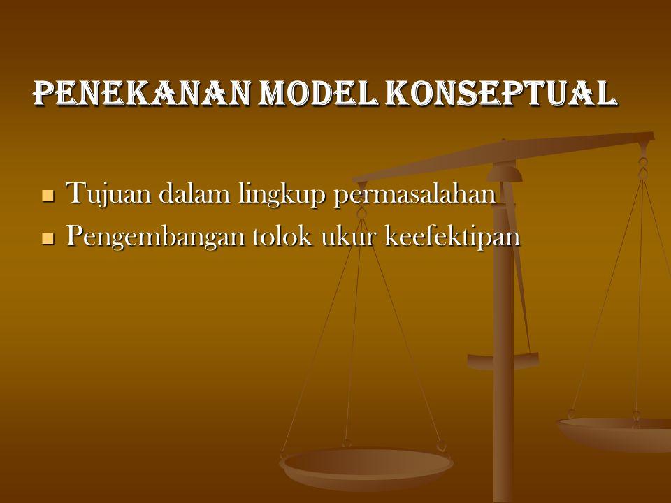 PENEKANAN MODEL KONSEPTUAL Tujuan dalam lingkup permasalahan Tujuan dalam lingkup permasalahan Pengembangan tolok ukur keefektipan Pengembangan tolok