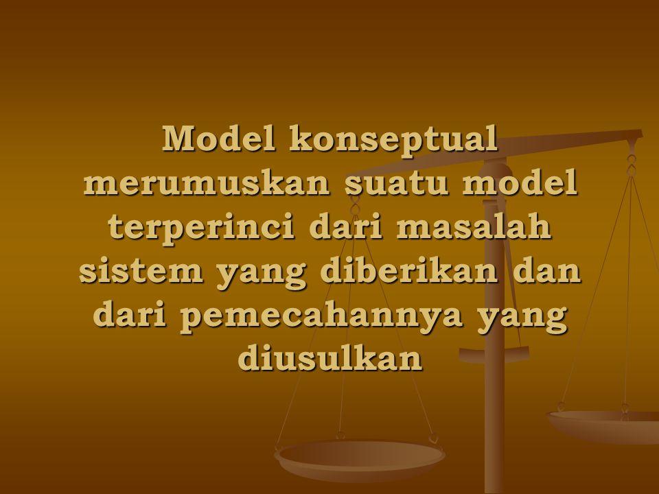 Model konseptual merumuskan suatu model terperinci dari masalah sistem yang diberikan dan dari pemecahannya yang diusulkan