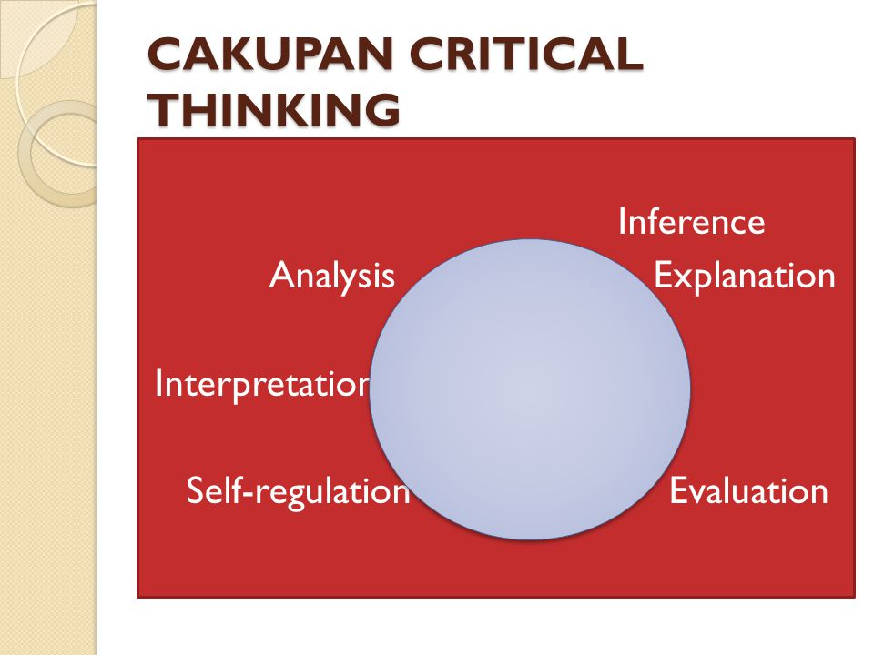CAKUPAN CRITICAL THINKING Inference Analysis Explanation Interpretation Self-regulation Evaluation
