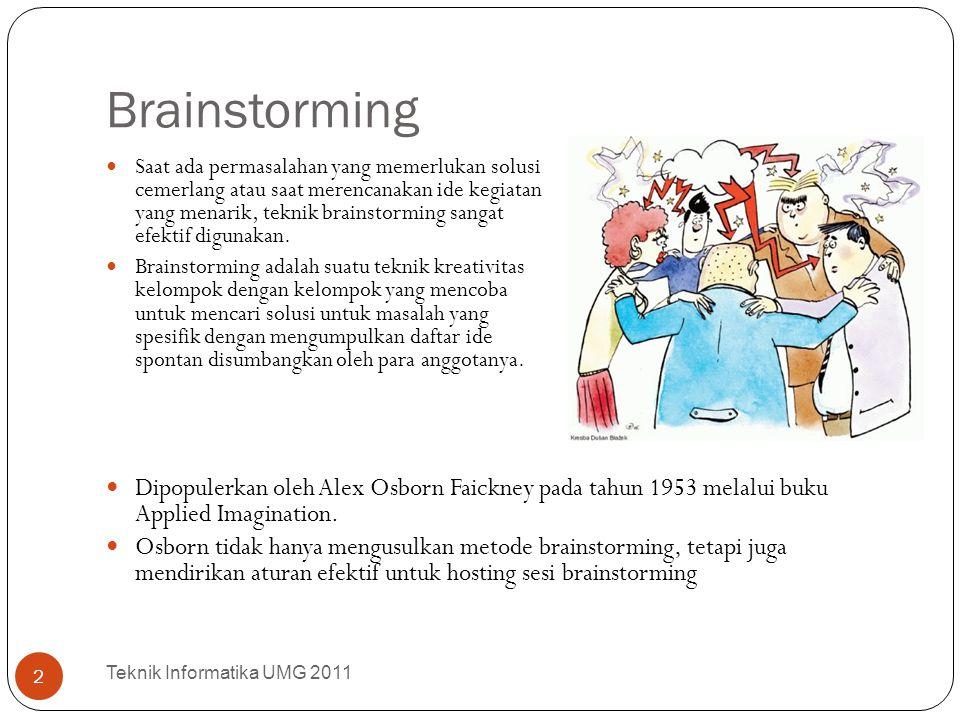 Brainstorming Teknik Informatika UMG 2011 3 Brainstorming telah menjadi teknik berkelompok yang populer dan telah menimbulkan perhatian di kalangan akademisi.