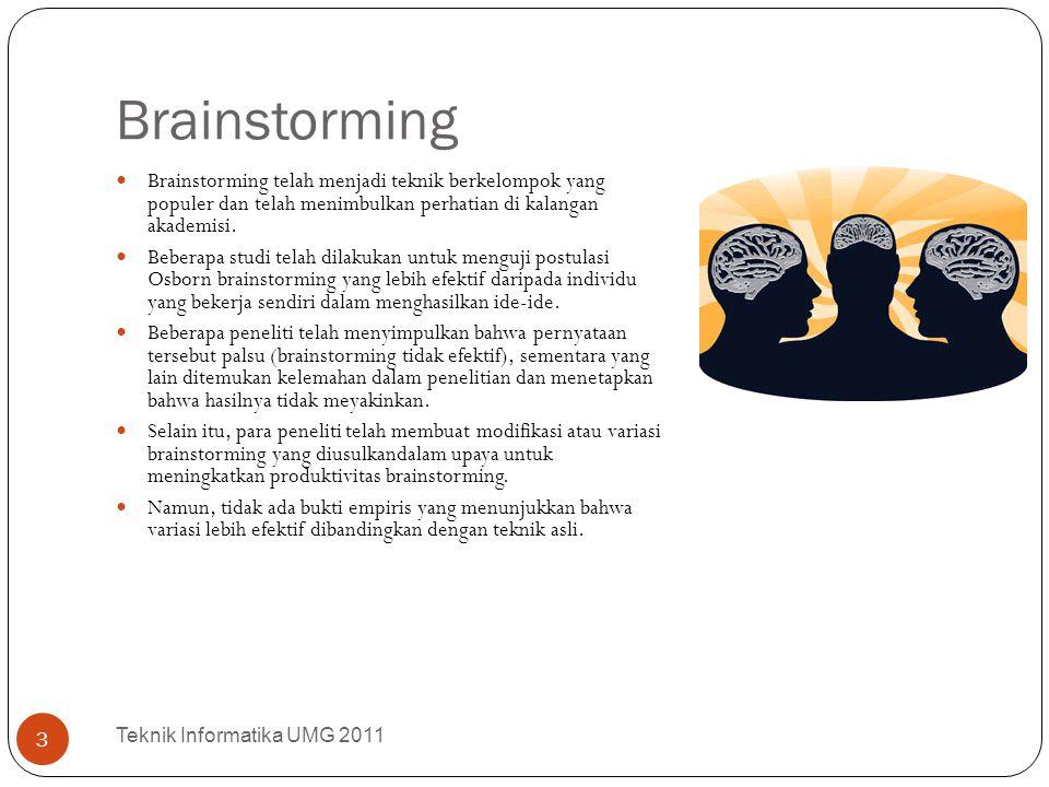 Brainstorming Teknik Informatika UMG 2011 3 Brainstorming telah menjadi teknik berkelompok yang populer dan telah menimbulkan perhatian di kalangan ak