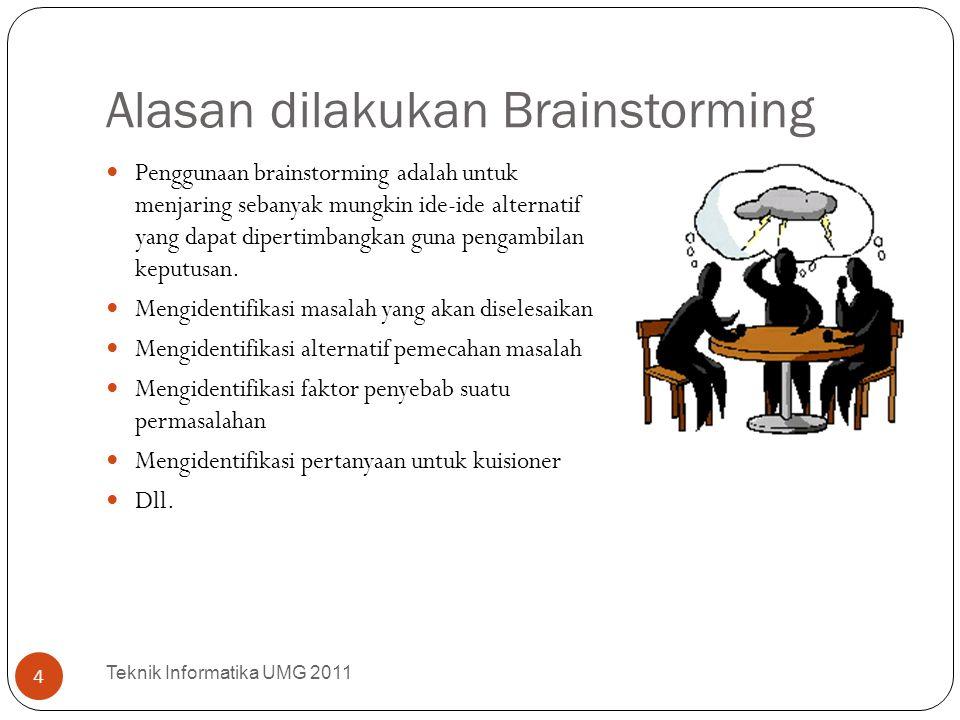 Alasan dilakukan Brainstorming Penggunaan brainstorming adalah untuk menjaring sebanyak mungkin ide-ide alternatif yang dapat dipertimbangkan guna pen