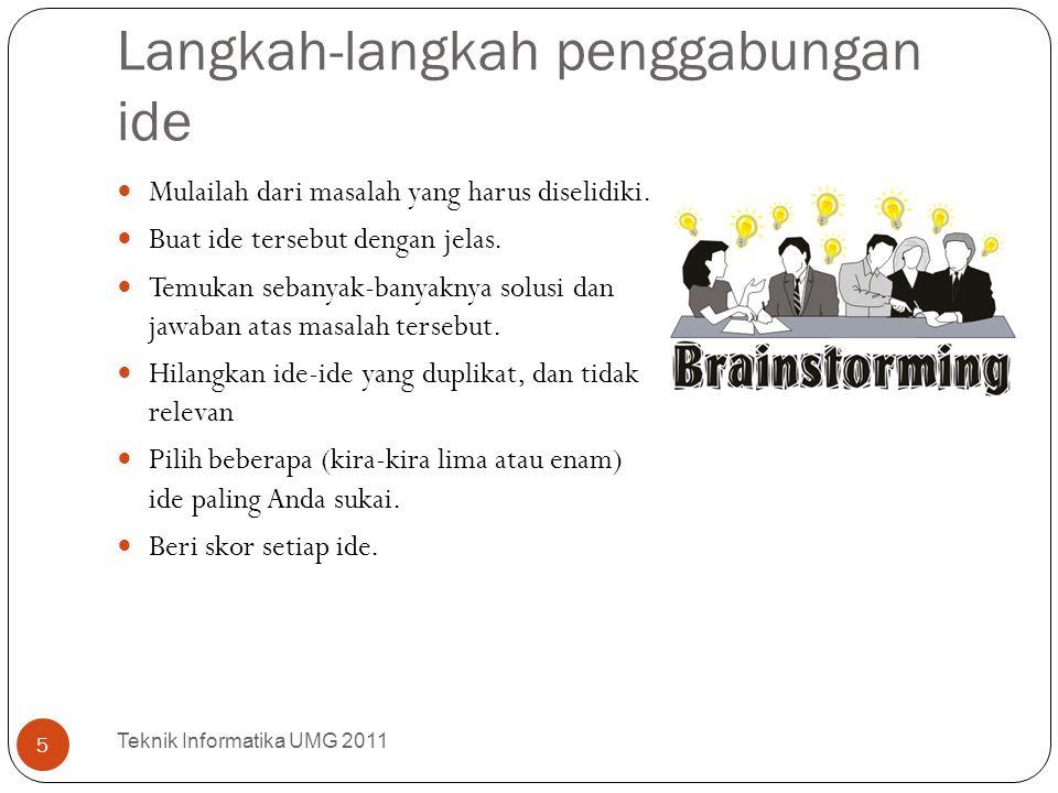 7 aturan pokok dalam brainstorming Teknik Informatika UMG 2011 6 1 | Ide Tanpa Batas Semua pendapat diterima.