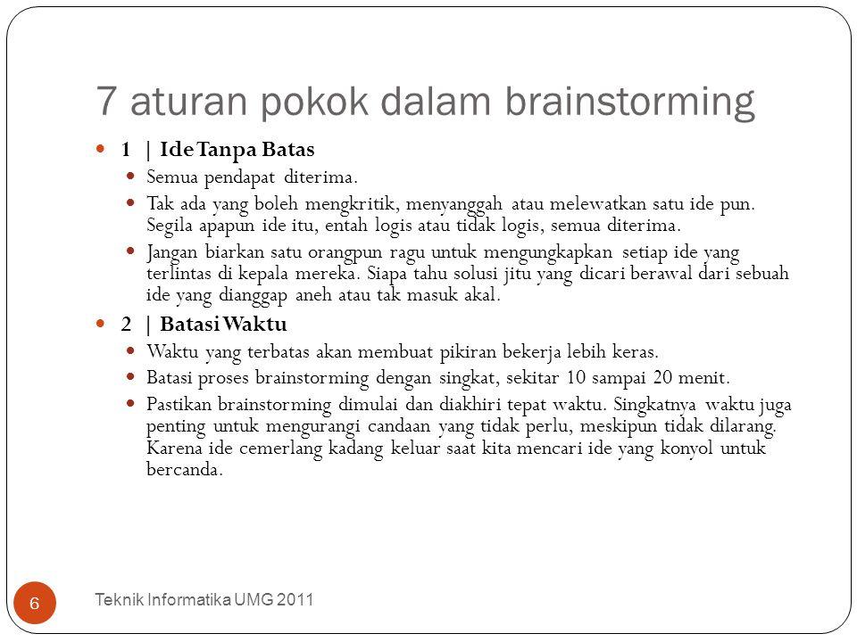 7 aturan pokok dalam brainstorming Teknik Informatika UMG 2011 6 1 | Ide Tanpa Batas Semua pendapat diterima. Tak ada yang boleh mengkritik, menyangga