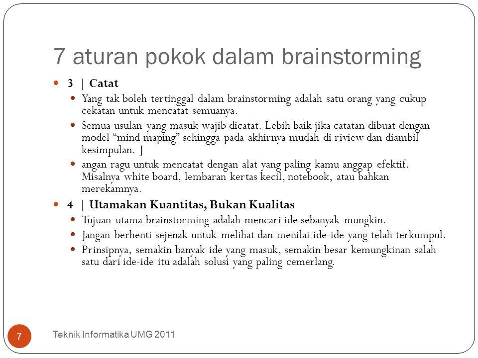 7 aturan pokok dalam brainstorming Teknik Informatika UMG 2011 8 5 | Gunakan Kedua Belah Otak Orang yang sedang berpikir serius biasanya hanya menggunaka otak kiri.