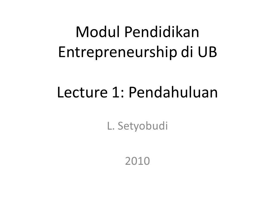 Modul Pendidikan Entrepreneurship di UB Lecture 1: Pendahuluan L. Setyobudi 2010