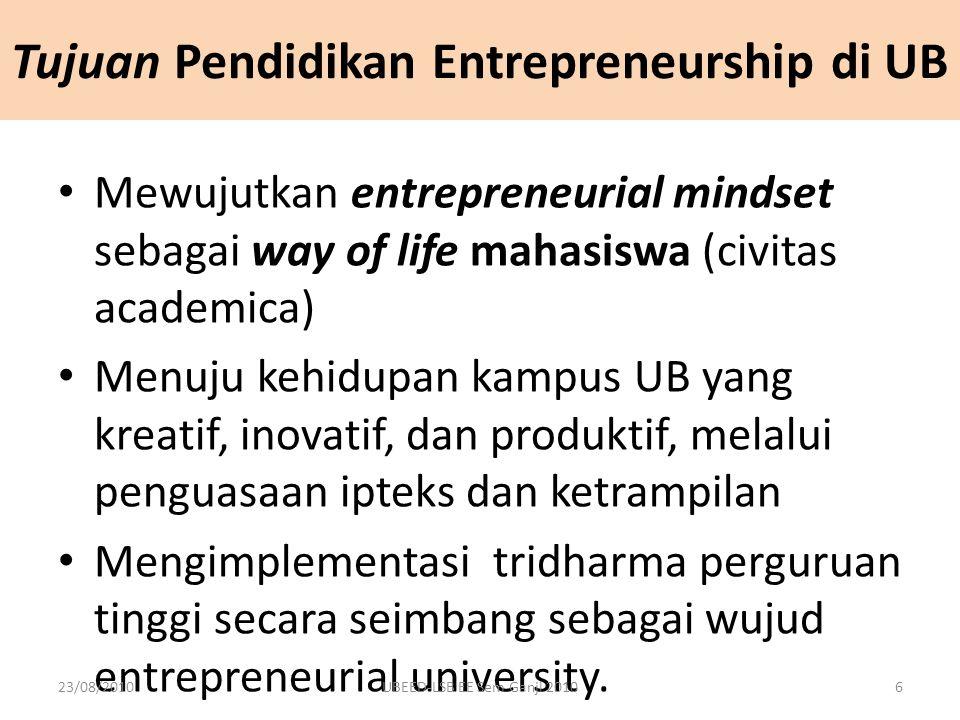 Tujuan Pendidikan Entrepreneurship di UB Mewujutkan entrepreneurial mindset sebagai way of life mahasiswa (civitas academica) Menuju kehidupan kampus UB yang kreatif, inovatif, dan produktif, melalui penguasaan ipteks dan ketrampilan Mengimplementasi tridharma perguruan tinggi secara seimbang sebagai wujud entrepreneurial university.