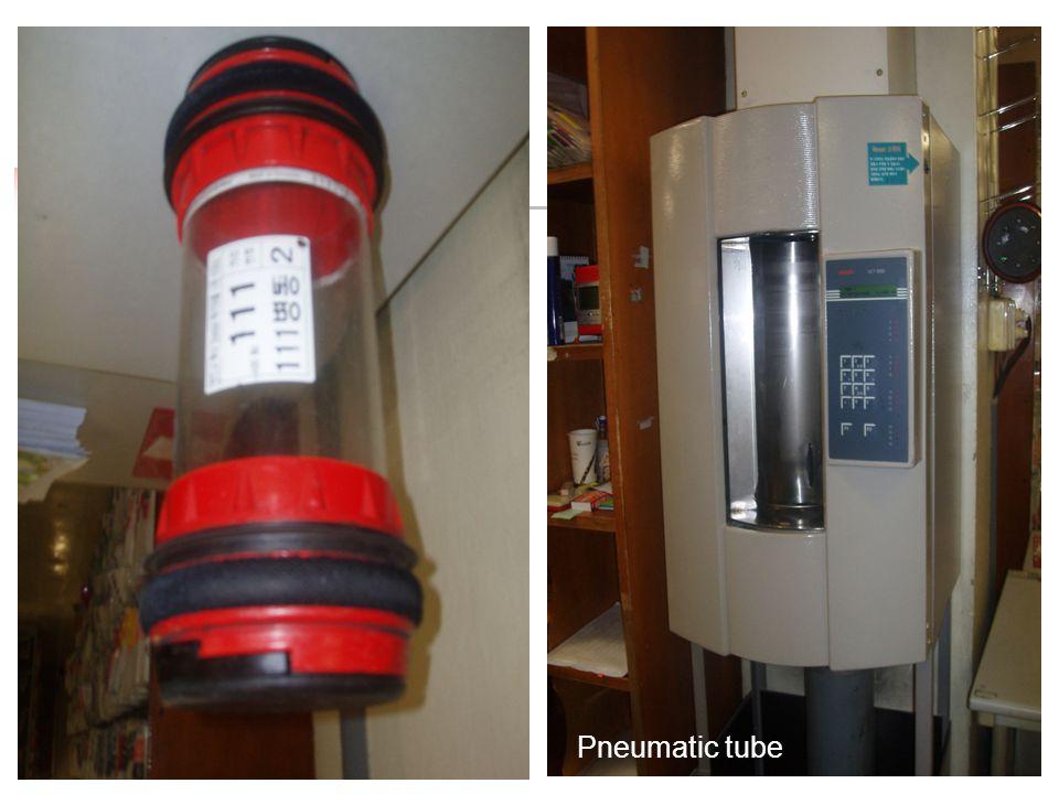 Peralatan Khusus Transportasi RM ---cepat, perlu dipertimbangkan: Troley Lift Pneumatic tubes Sepeda