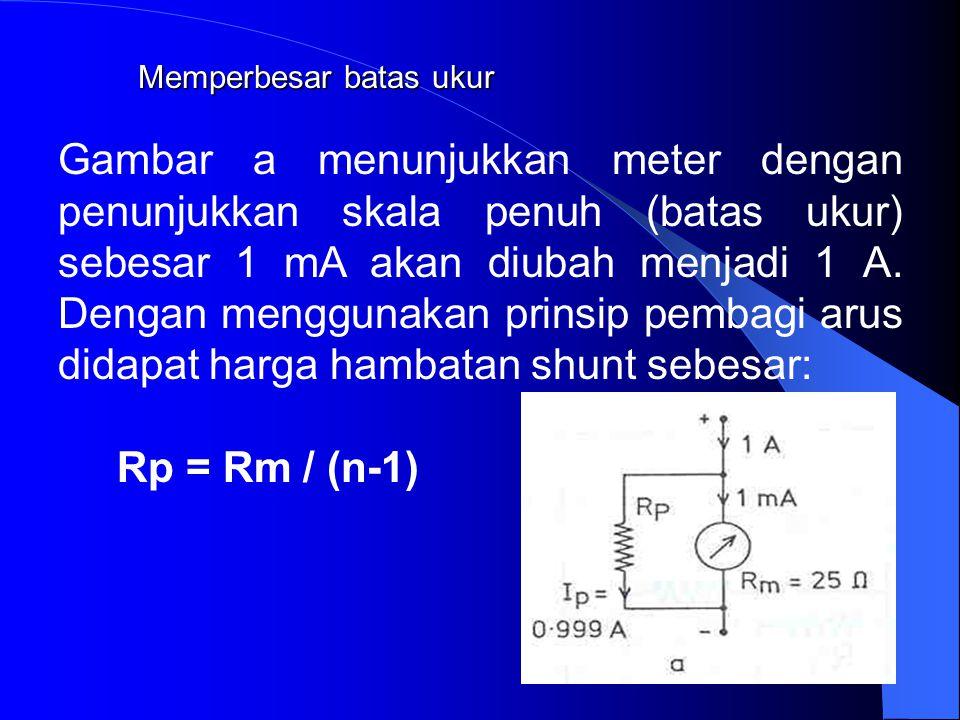 Memperbesar batas ukur Ammeter:Voltmeter: Rp = Rm (n-1)(Rs+Rm) 1mA = 2V