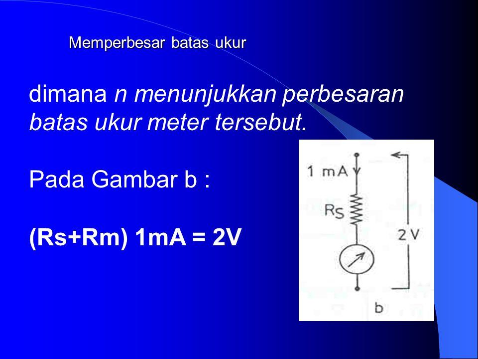 Memperbesar batas ukur Gambar a menunjukkan meter dengan penunjukkan skala penuh (batas ukur) sebesar 1 mA akan diubah menjadi 1 A. Dengan menggunakan