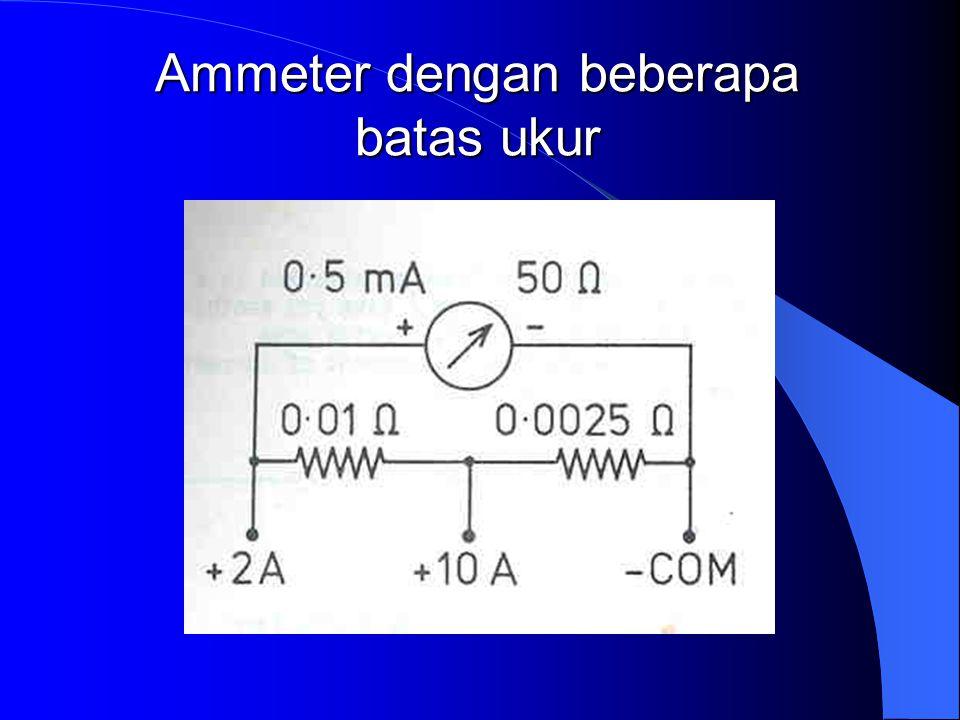 dimana n menunjukkan perbesaran batas ukur meter tersebut. Pada Gambar b : (Rs+Rm) 1mA = 2V Memperbesar batas ukur