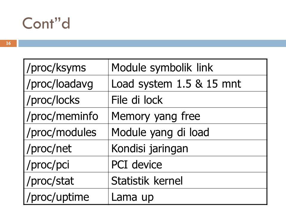 "Cont""d 16 /proc/ksymsModule symbolik link /proc/loadavgLoad system 1.5 & 15 mnt /proc/locksFile di lock /proc/meminfoMemory yang free /proc/modulesMod"