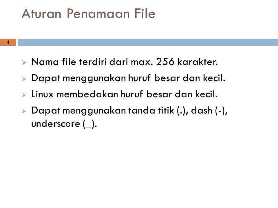 Aturan Penamaan File 4  Nama file terdiri dari max. 256 karakter.  Dapat menggunakan huruf besar dan kecil.  Linux membedakan huruf besar dan kecil