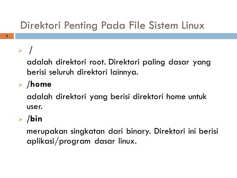 Direktori Penting Pada File Sistem Linux 9  / adalah direktori root. Direktori paling dasar yang berisi seluruh direktori lainnya.  /home adalah dir