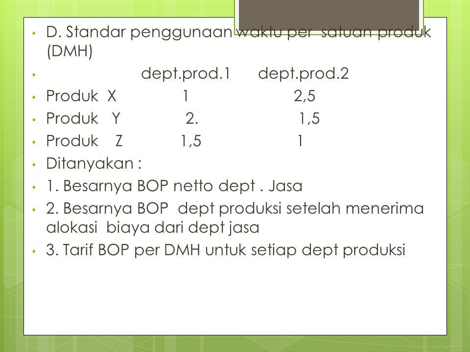 D. Standar penggunaan waktu per satuan produk (DMH) dept.prod.1 dept.prod.2 Produk X 1 2,5 Produk Y 2. 1,5 Produk Z 1,5 1 Ditanyakan : 1. Besarnya BOP