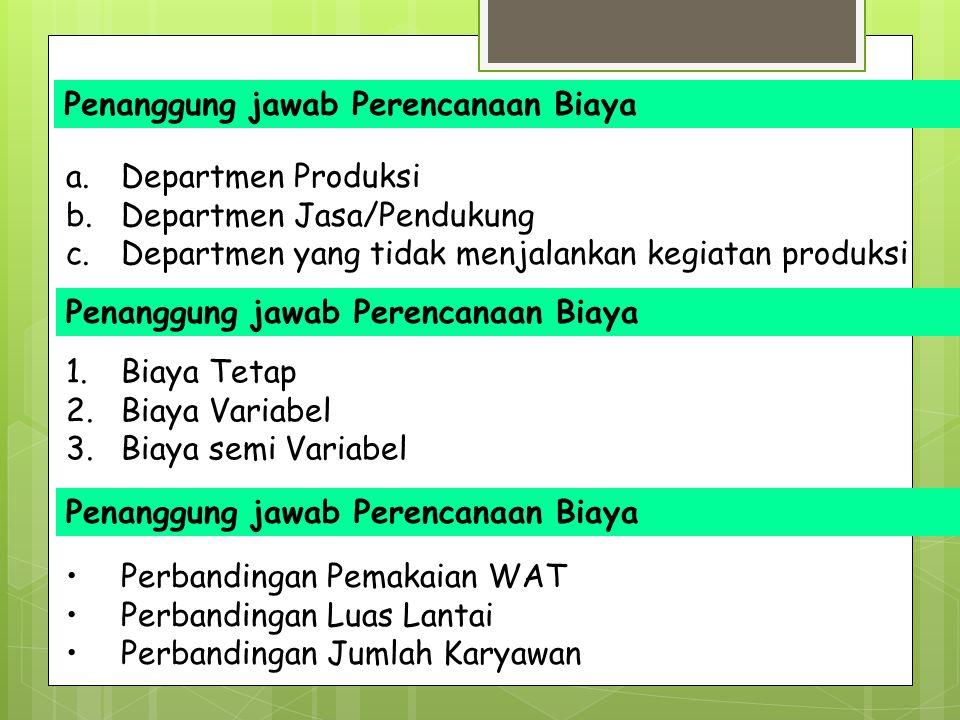 Penanggung jawab Perencanaan Biaya a. Departmen Produksi b. Departmen Jasa/Pendukung c. Departmen yang tidak menjalankan kegiatan produksi Penanggung