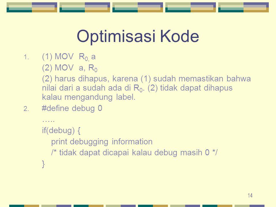 14 Optimisasi Kode 1. (1) MOVR 0, a (2) MOVa, R 0 (2) harus dihapus, karena (1) sudah memastikan bahwa nilai dari a sudah ada di R 0. (2) tidak dapat