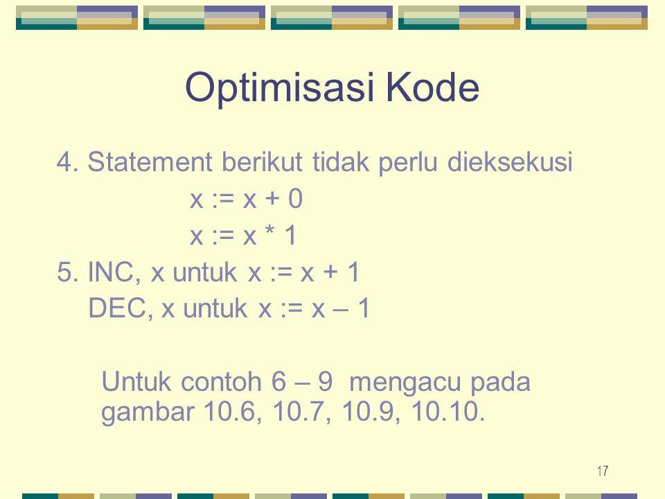 17 Optimisasi Kode 4. Statement berikut tidak perlu dieksekusi x := x + 0 x := x * 1 5. INC, x untuk x := x + 1 DEC, x untuk x := x – 1 Untuk contoh 6