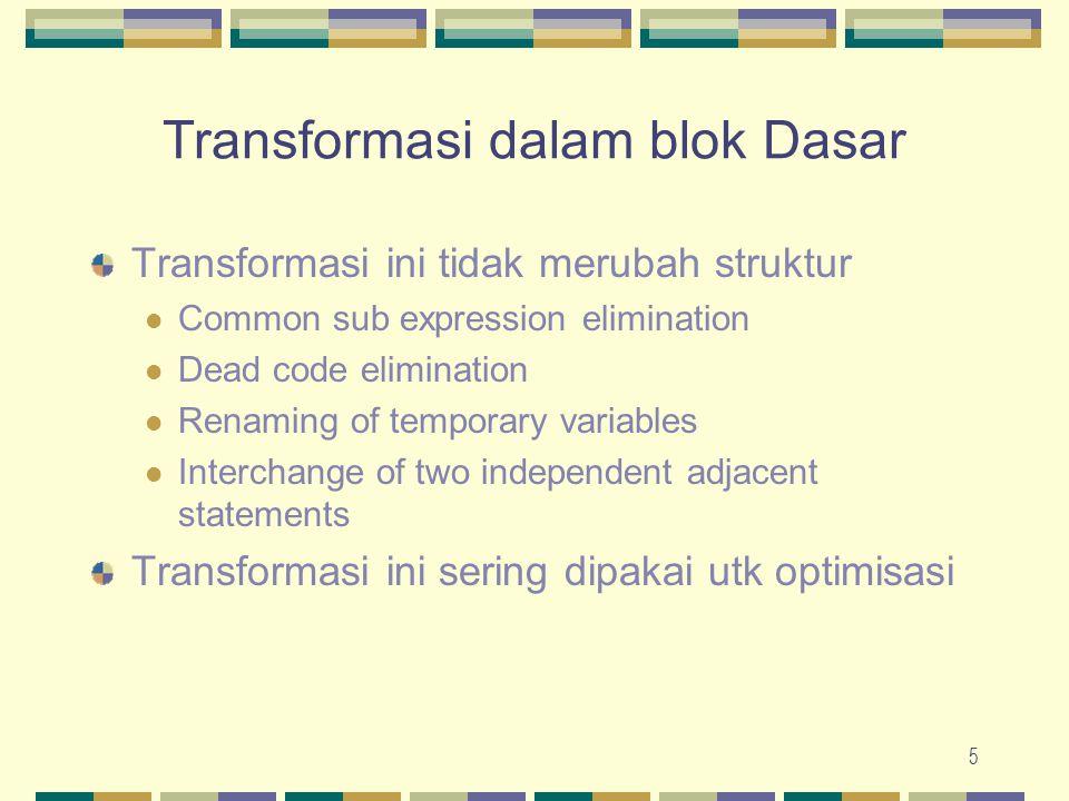 6 Optimisasi Kode Machine Independent Dilakukan dengan memakai transformasi (lokal dan global terhadap blok) pada kodenya.