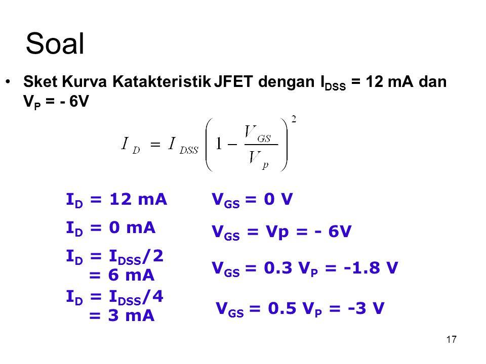 17 Soal Sket Kurva Katakteristik JFET dengan I DSS = 12 mA dan V P = - 6V I D = 12 mAV GS = 0 V I D = 0 mA V GS = Vp = - 6V I D = I DSS /2 = 6 mA I D