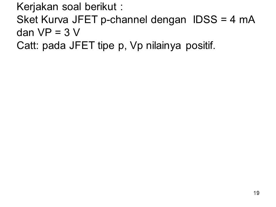 19 Kerjakan soal berikut : Sket Kurva JFET p-channel dengan IDSS = 4 mA dan VP = 3 V Catt: pada JFET tipe p, Vp nilainya positif.