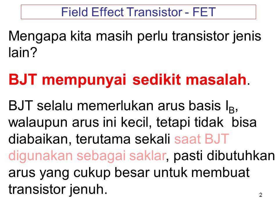 2 Field Effect Transistor - FET Mengapa kita masih perlu transistor jenis lain? BJT mempunyai sedikit masalah. BJT selalu memerlukan arus basis I B, w