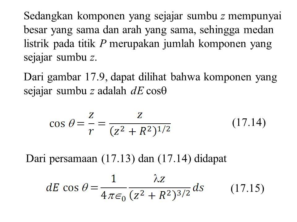 Sedangkan komponen yang sejajar sumbu z mempunyai besar yang sama dan arah yang sama, sehingga medan listrik pada titik P merupakan jumlah komponen ya