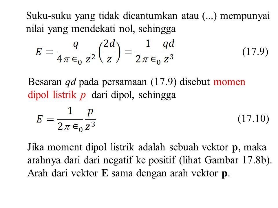 Suku-suku yang tidak dicantumkan atau (...) mempunyai nilai yang mendekati nol, sehingga (17.9) Besaran qd pada persamaan (17.9) disebut momen dipol l