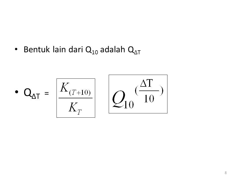 9 Latihan soal: Hitunglah faktor perubahan konstante kecepatan reaksi (k) untuk: a.Perubahan suhu dari 25 ke 50 o C.