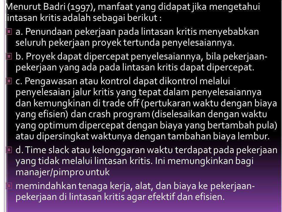 Menurut Badri (1997), manfaat yang didapat jika mengetahui lintasan kritis adalah sebagai berikut : a. Penundaan pekerjaan pada lintasan kritis menyeb