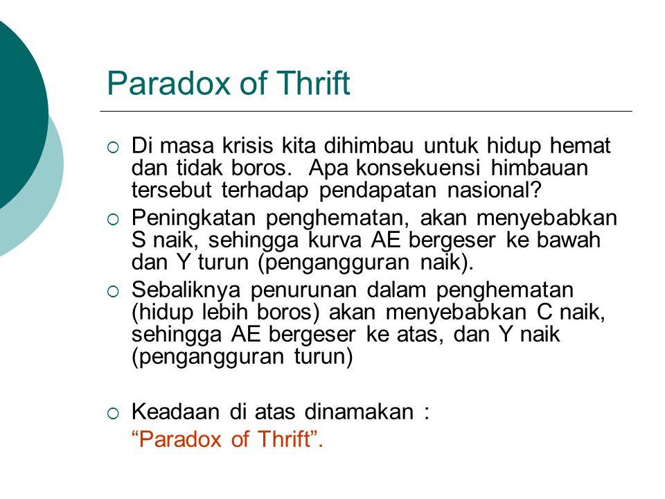 Paradox of Thrift  Di masa krisis kita dihimbau untuk hidup hemat dan tidak boros. Apa konsekuensi himbauan tersebut terhadap pendapatan nasional? 