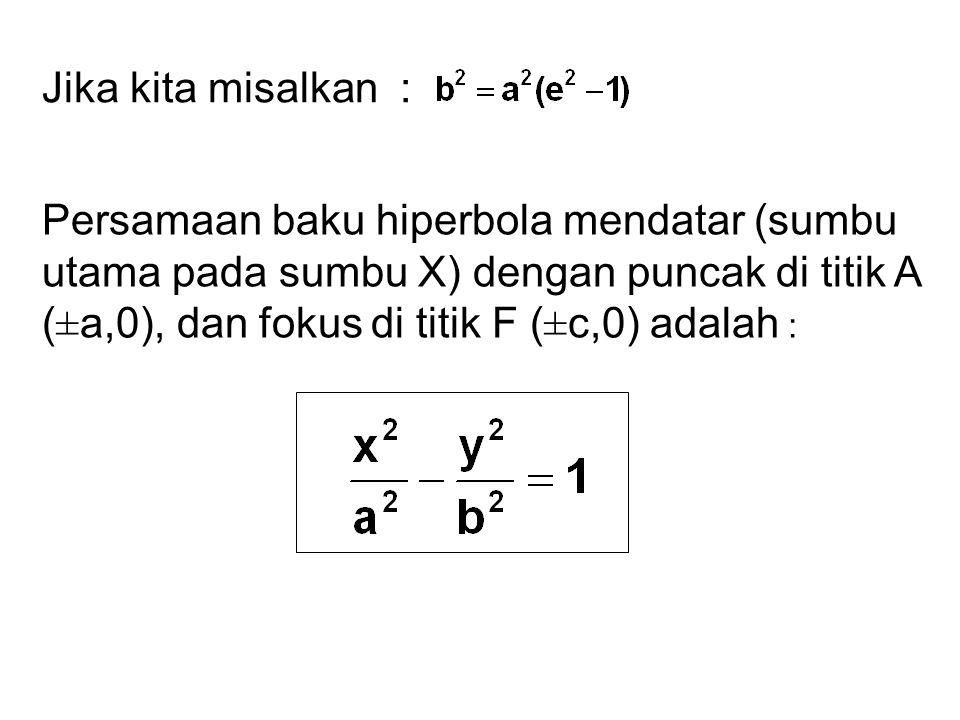 Jika kita misalkan : Persamaan baku hiperbola mendatar (sumbu utama pada sumbu X) dengan puncak di titik A (±a,0), dan fokus di titik F (±c,0) adalah :