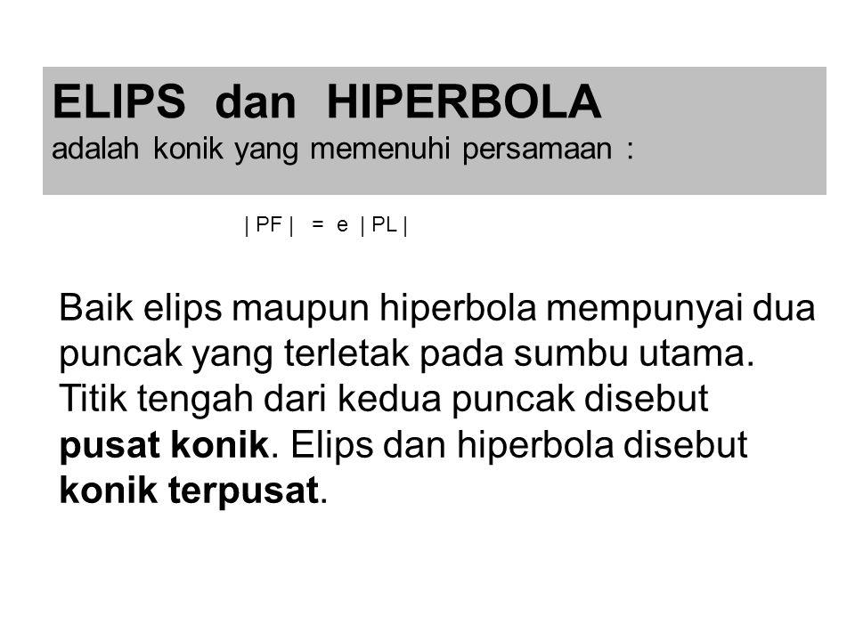 ELIPS dan HIPERBOLA adalah konik yang memenuhi persamaan : Baik elips maupun hiperbola mempunyai dua puncak yang terletak pada sumbu utama.