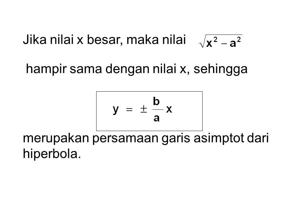 Jika nilai x besar, maka nilai hampir sama dengan nilai x, sehingga merupakan persamaan garis asimptot dari hiperbola.