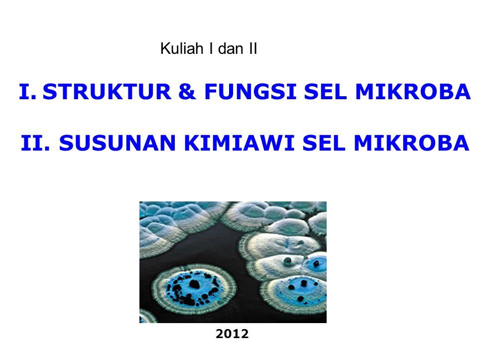 I.STRUKTUR & FUNGSI SEL MIKROBA II. SUSUNAN KIMIAWI SEL MIKROBA 2012 Kuliah I dan II